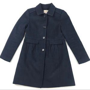 Loft Wool Blend Pea Coat Navy Blue Small